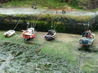 Boats beached in Boscastle Harbour at low tide